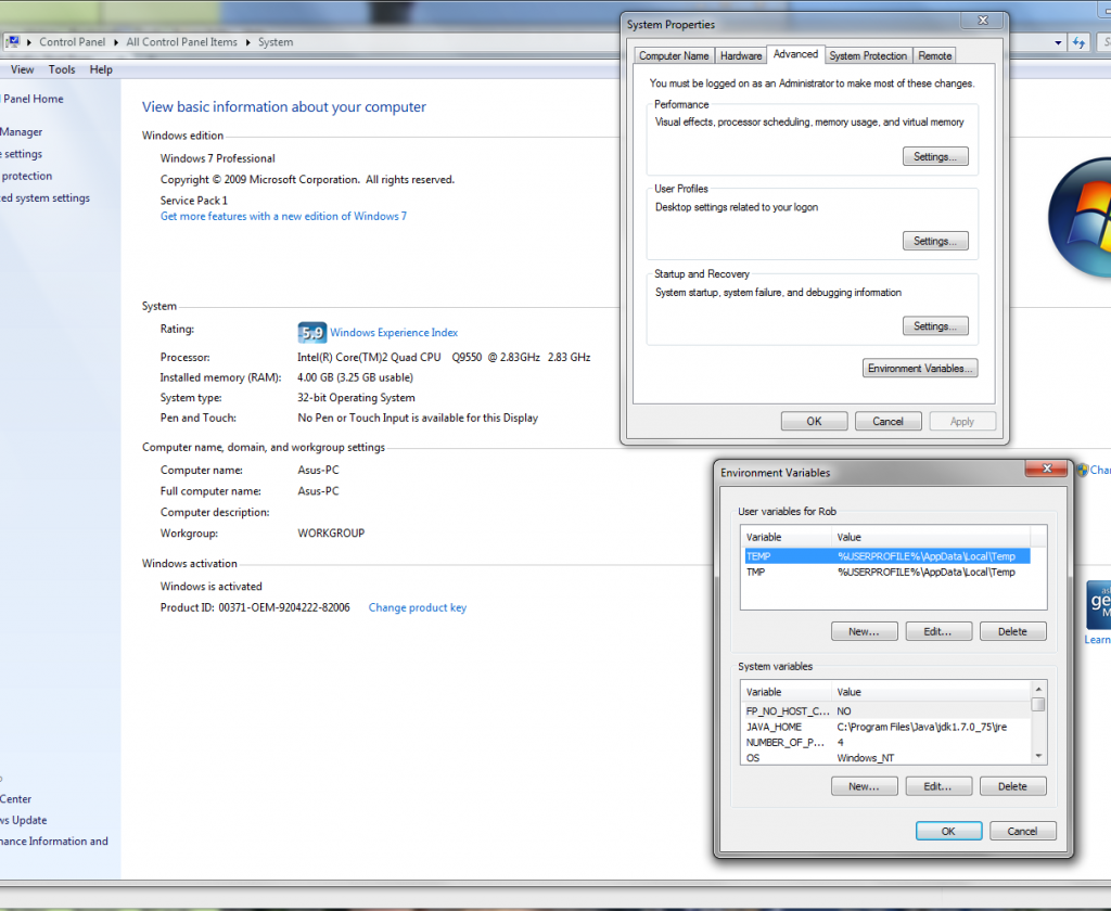 Windows 7 Environmental variables dialog